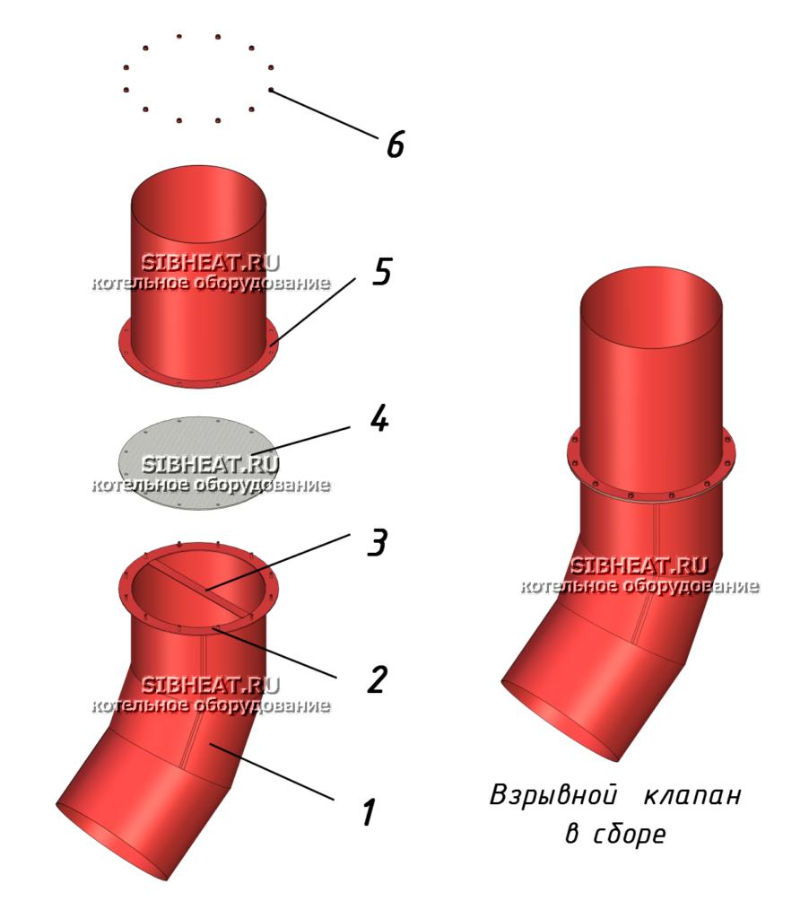 Устройство клапана взрывного предохранительного с отводящим патрубком